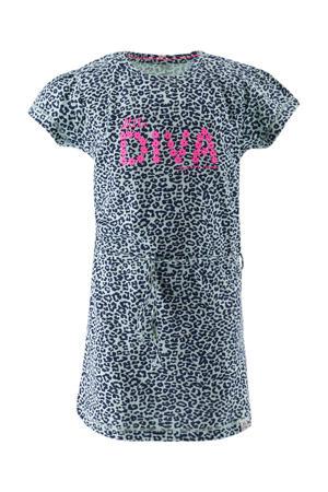 jersey jurk met panterprint en ceintuur mintgroen/donkerblauw/roze