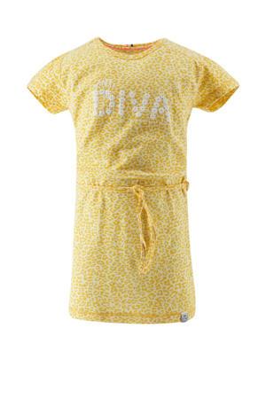 jersey jurk met panterprint en ceintuur lichtgeel/okergeel/wit