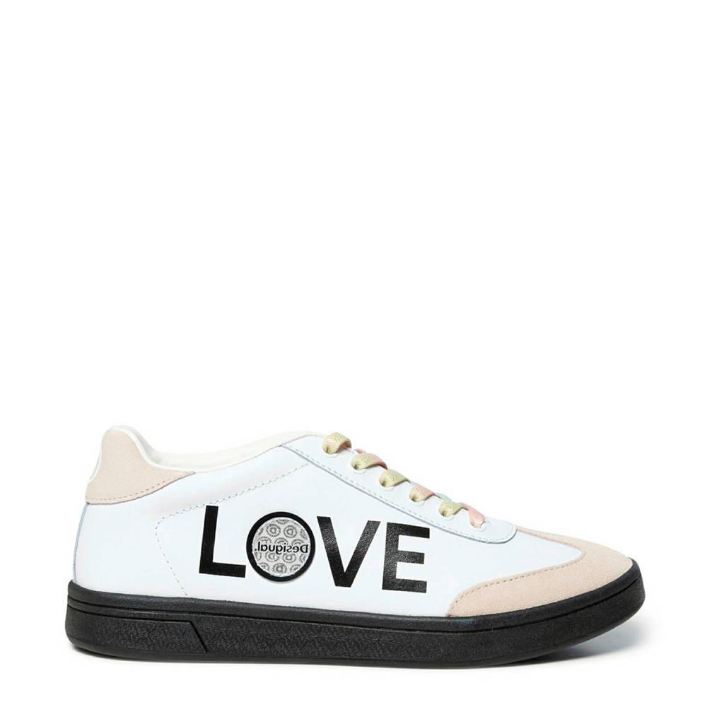 Desigual   leren sneakers wit/beige, Wit/beige