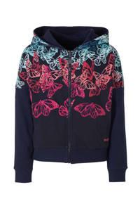 Desigual reversible vest met all over print en pailletten donkerblauw/fuchsia/mintgroen, Donkerblauw/fuchsia/mintgroen