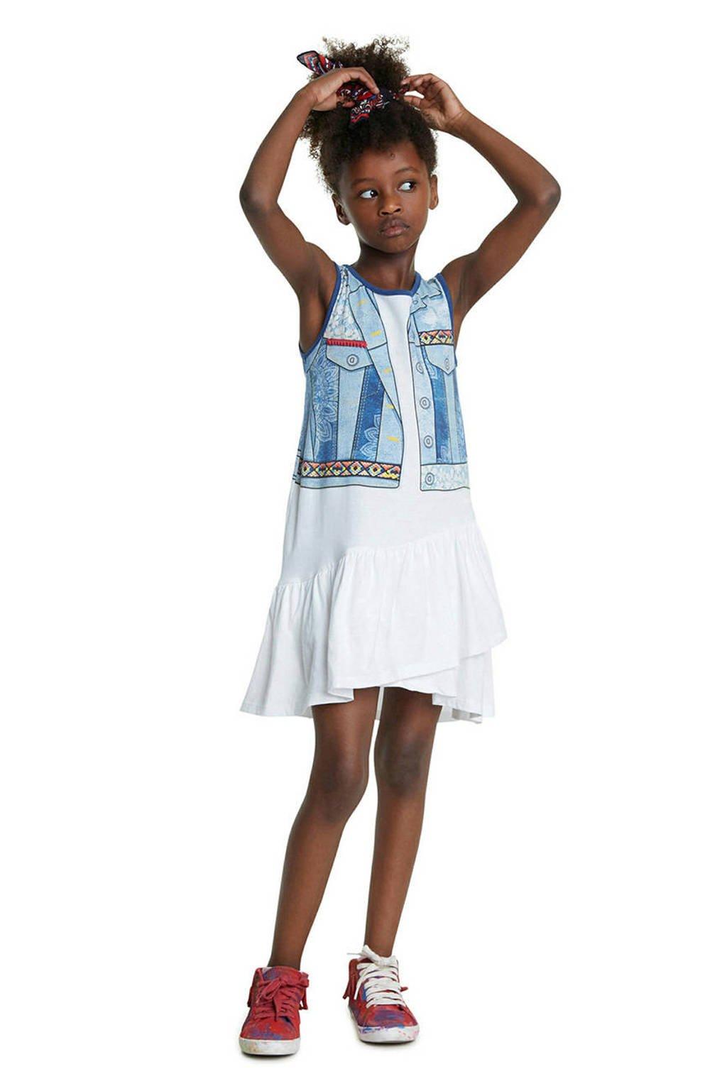Desigual jersey jurk met printopdruk en ruches wit/blauw/geel, Wit/blauw/geel