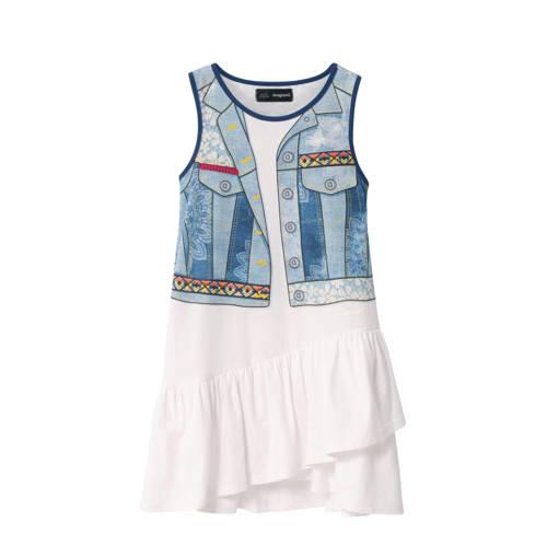 Desigual jersey jurk met printopdruk en ruches wit