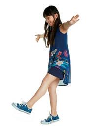 Desigual semi-transparante jurk met printopdruk en pailletten donkerblauw/paars/groen, Donkerblauw/paars/groen