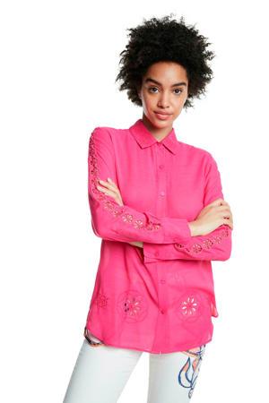 blouse met pailletten fuchsia