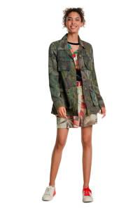 Desigual jasje met camouflageprint en ceintuur groen, Groen