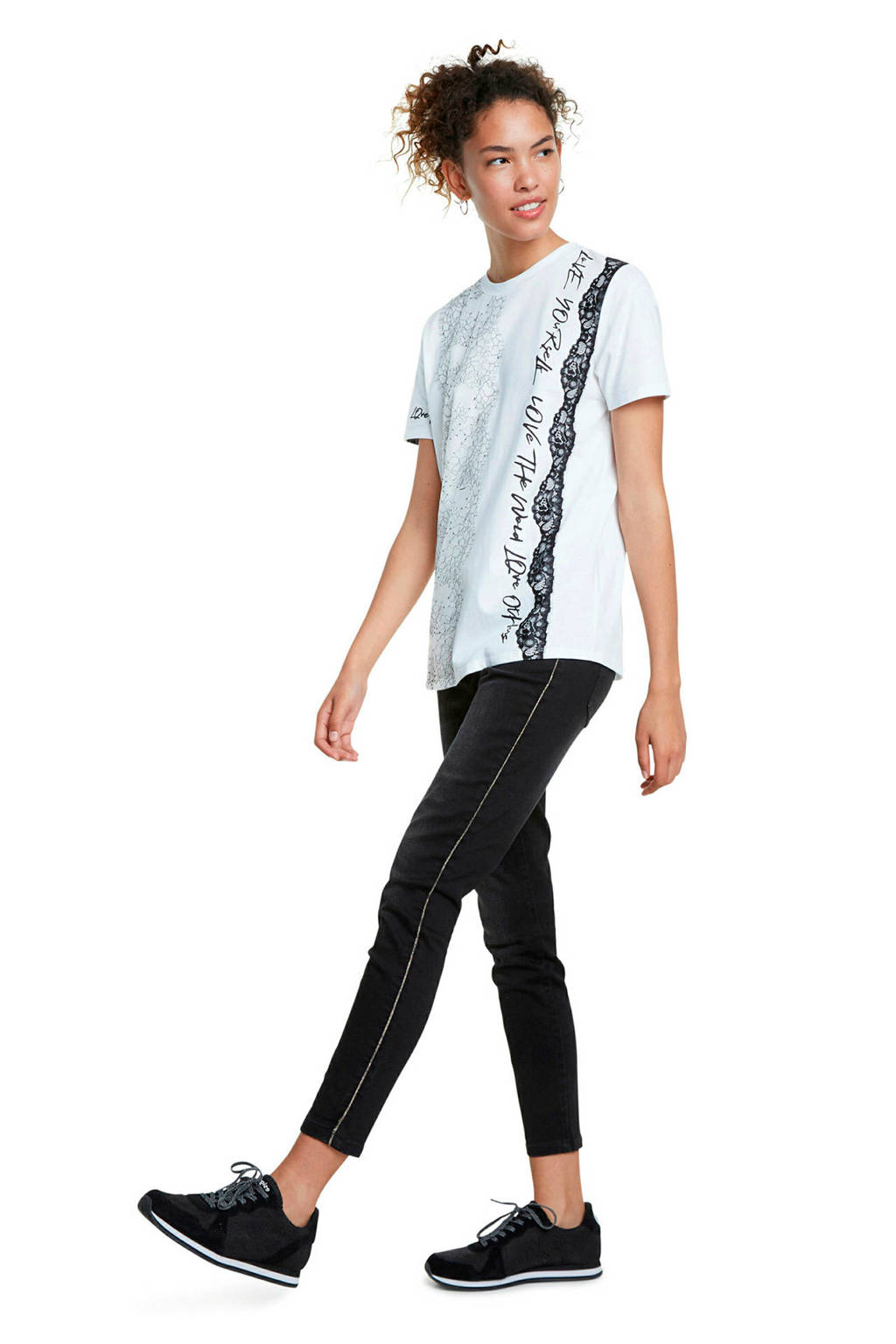 Desigual T-shirt met all over print wit, Wit