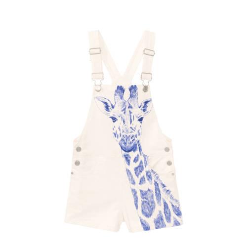 Desigual tuinbroek met printopdruk wit/blauw