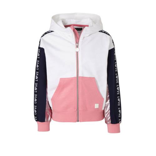Desigual vest met contrastbies rose/wit/donkerblau
