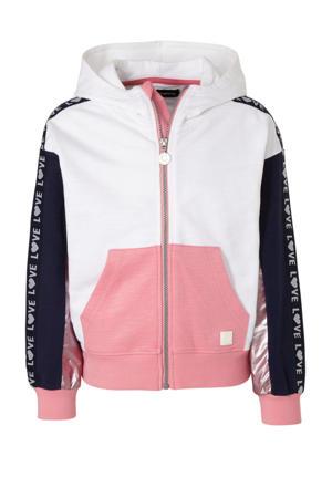 vest met contrastbies rose/wit/donkerblauw