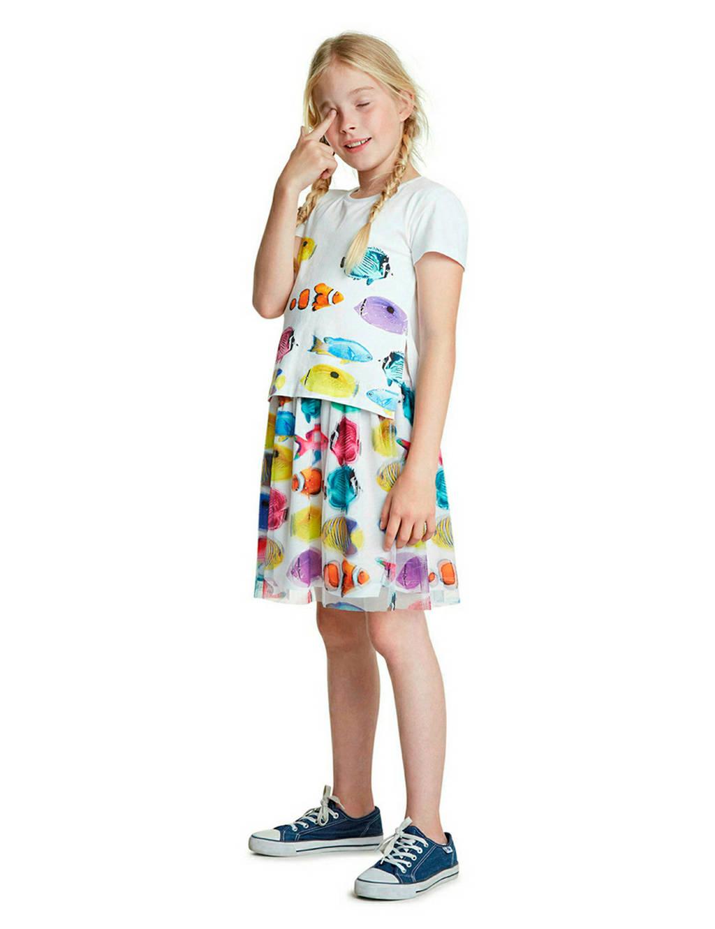 Desigual jersey jurk met dierenprint en plooien wit/geel/roze, Wit/geel/roze