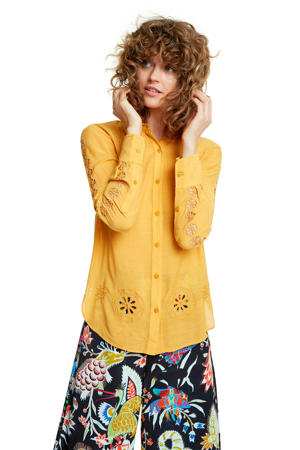 blouse met pailletten oker