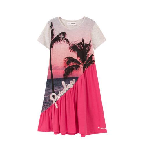 Desigual A-lijn jurk met printopdruk roze/wit