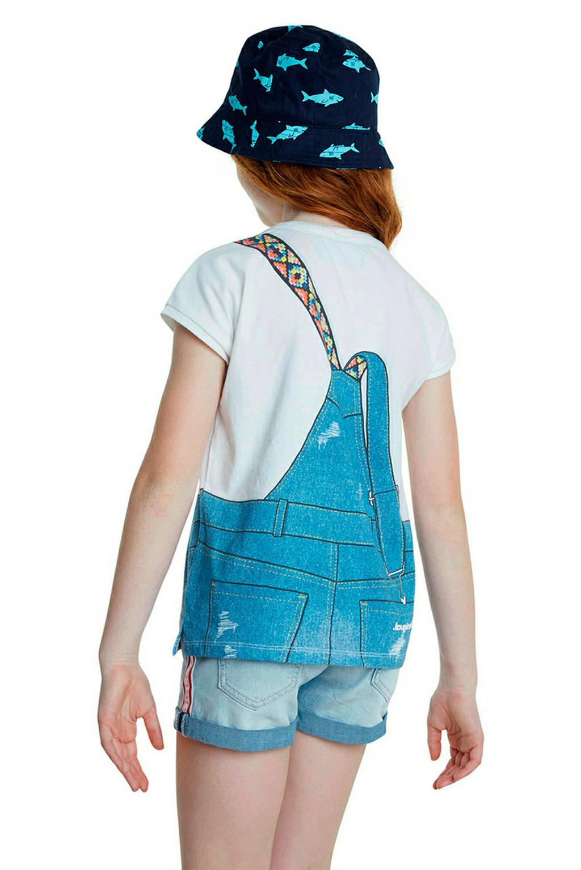 Desigual T-shirt met printopdruk en pailletten wit/blauw/multi, Wit/blauw/multi