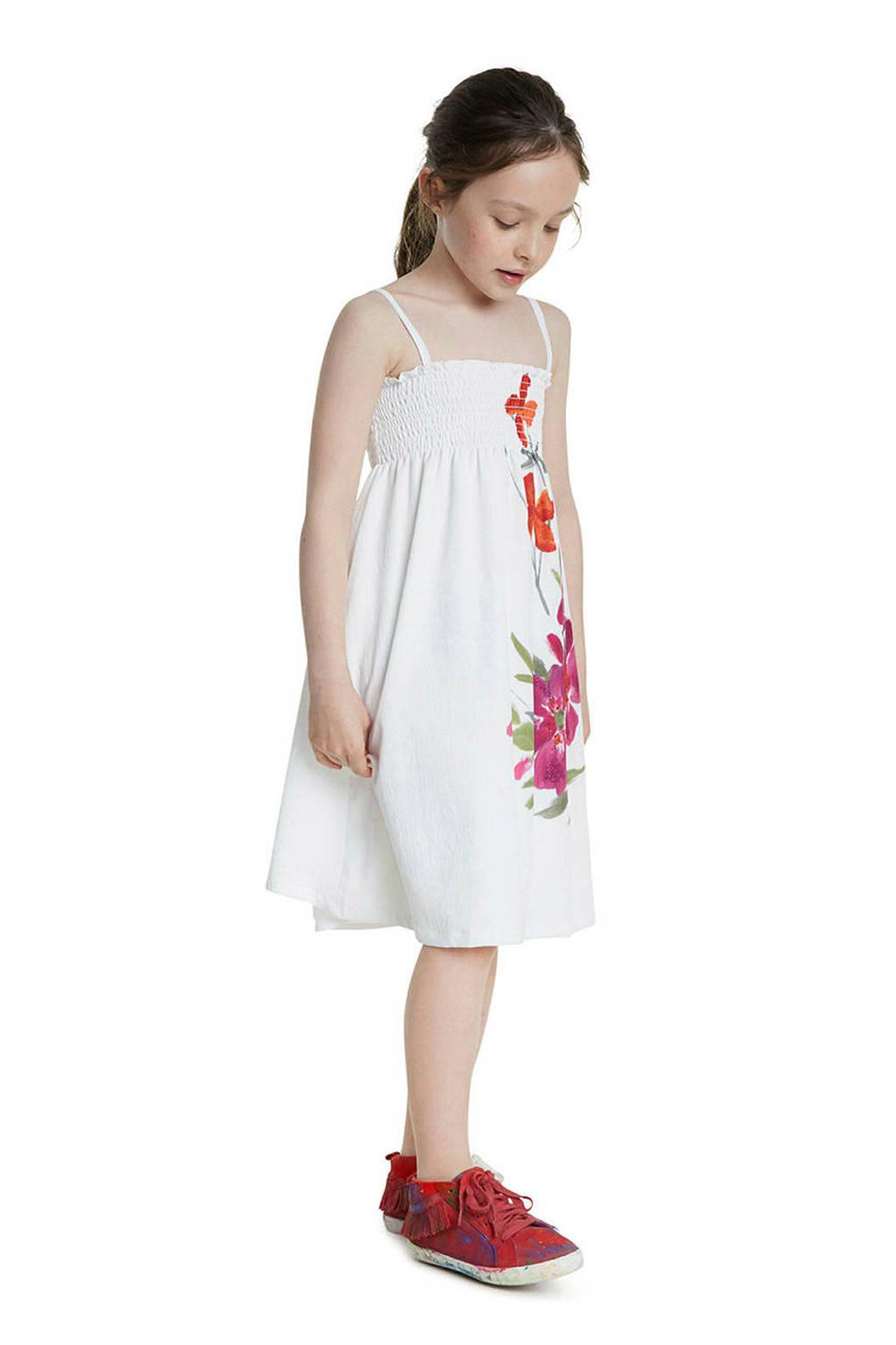 Desigual jurk met printopdruk wit/paars, Wit/paars