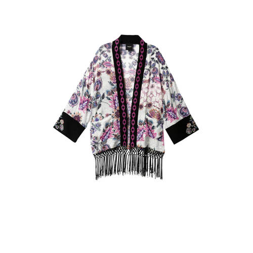 Desigual vest met all over print en franjes wit/ro