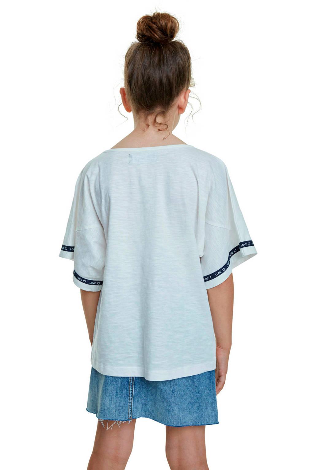 Desigual T-shirt met printopdruk en strass steentjes wit, Wit