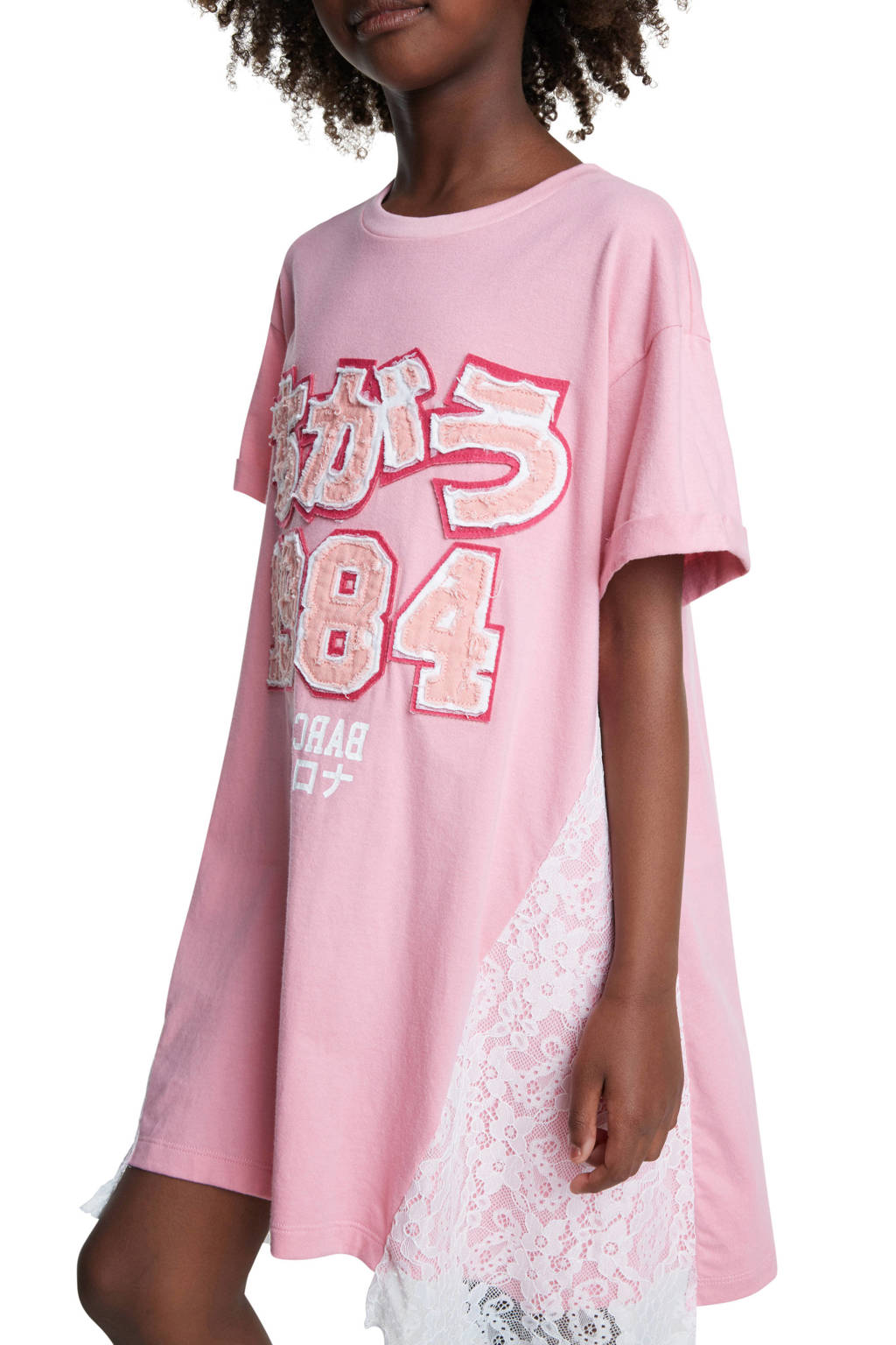 Desigual T-shirtjurk met tekst en kant lichtroze/wit/fuchsia, Lichtroze/wit/fuchsia
