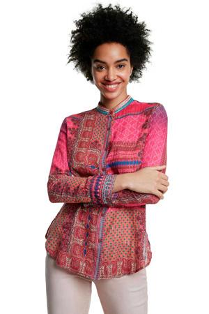 blouse met paisleyprint en borduursels roze/multi