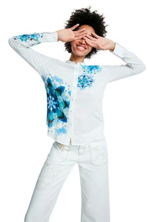 gebloemde blouse wit/blauw
