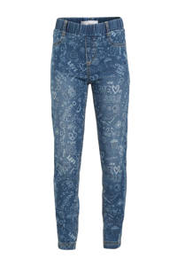 Desigual skinny jeans met all over print dark denim/lichtblauw, Dark denim/lichtblauw