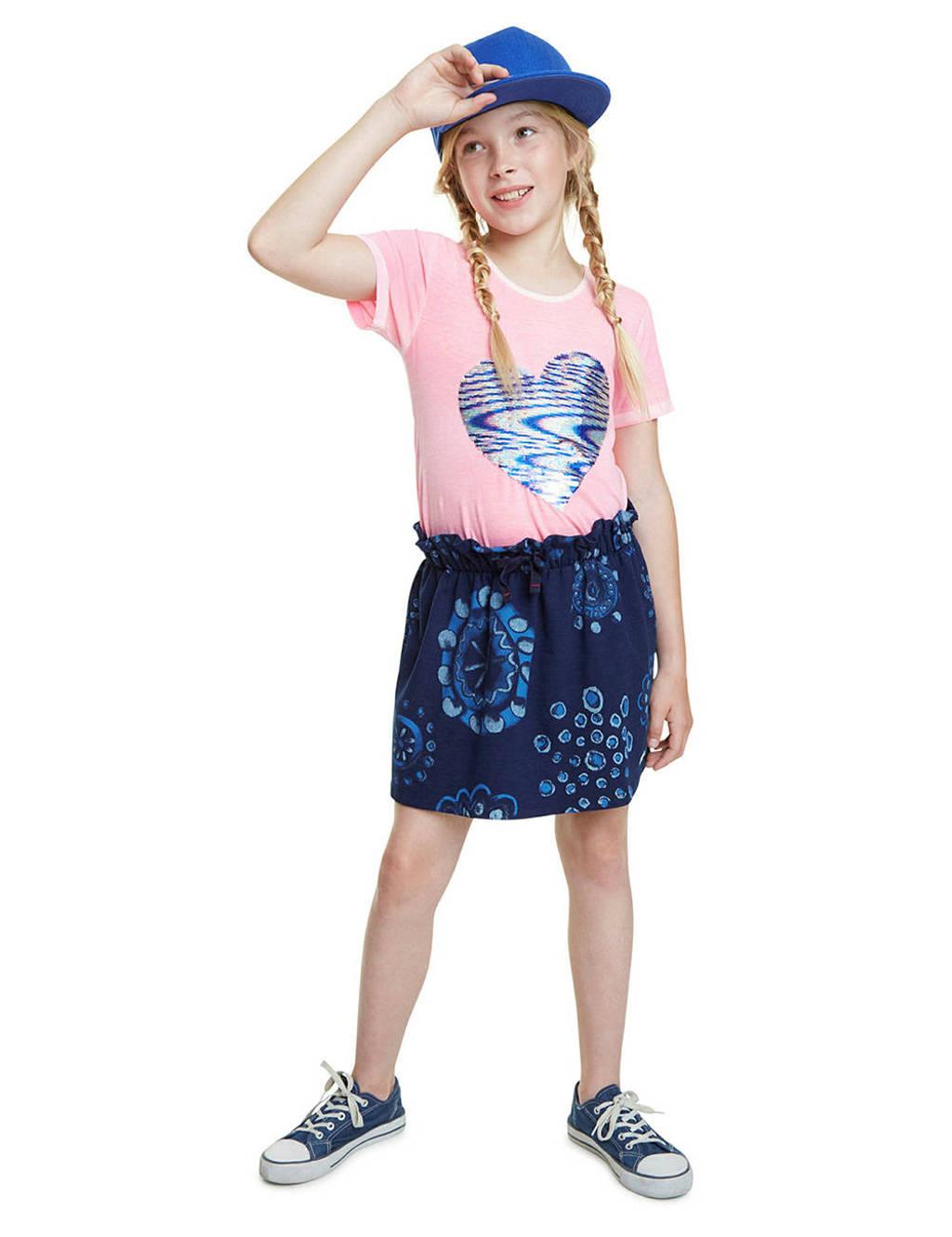 Desigual rok met all over print en plooien donkerblauw/blauw, Donkerblauw/blauw