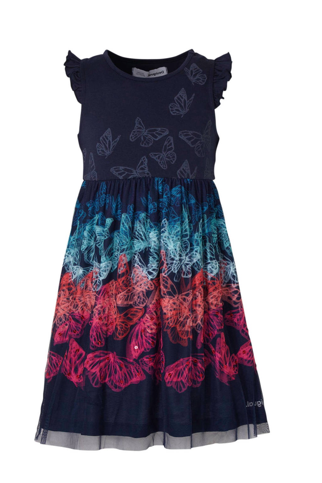 Desigual A-lijn jurk met all over print en pailletten donkerblauw/fuchsia/mintgroen, Donkerblauw/fuchsia/mintgroen