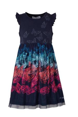 A-lijn jurk met all over print en pailletten donkerblauw/fuchsia/mintgroen