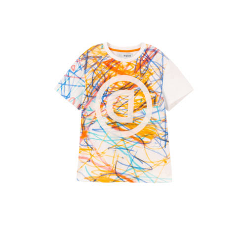 Desigual T-shirt met all over print wit/multi