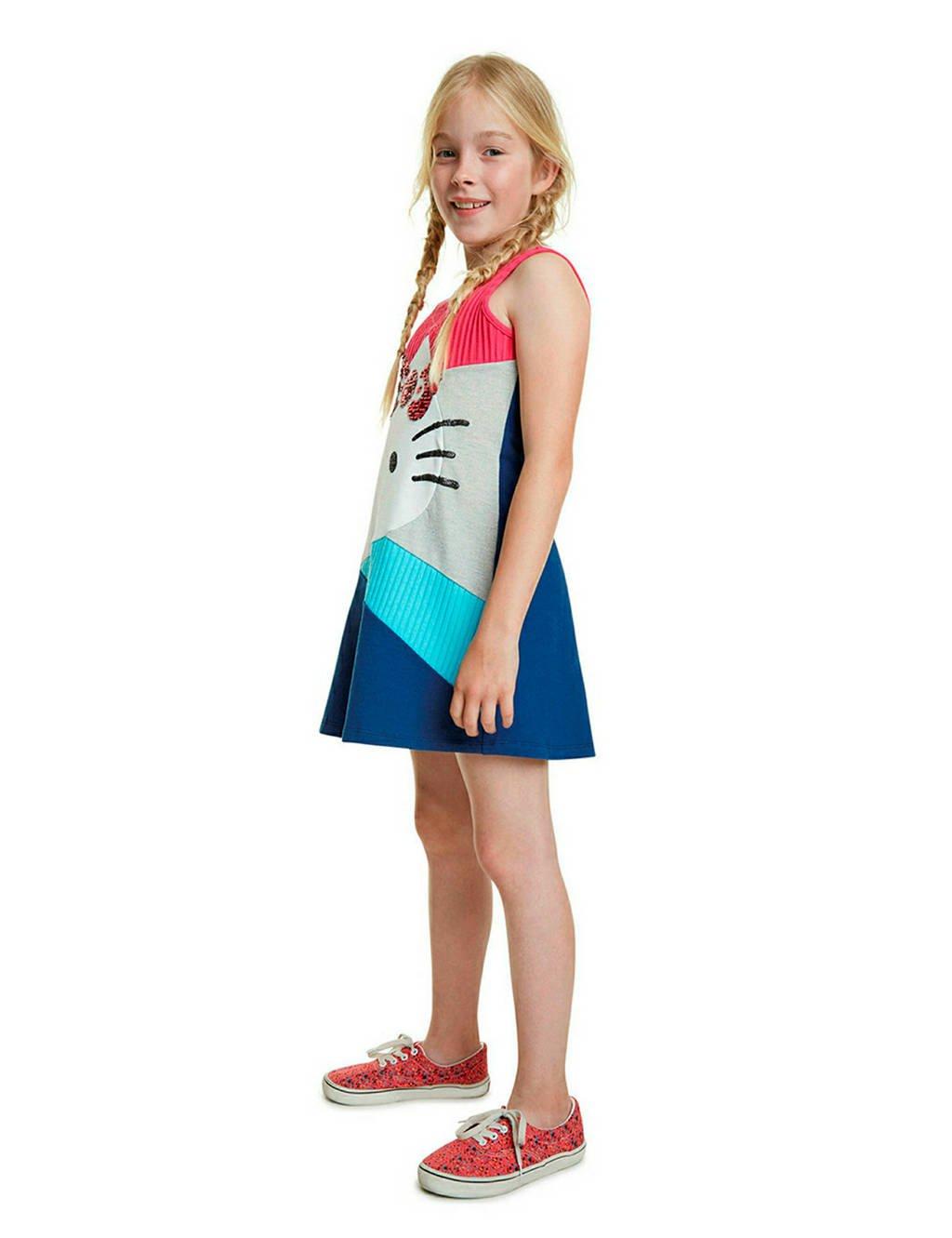 Desigual ribgebreide jersey jurk met pailletten fuchsia/blauw/wit, Fuchsia/blauw/wit