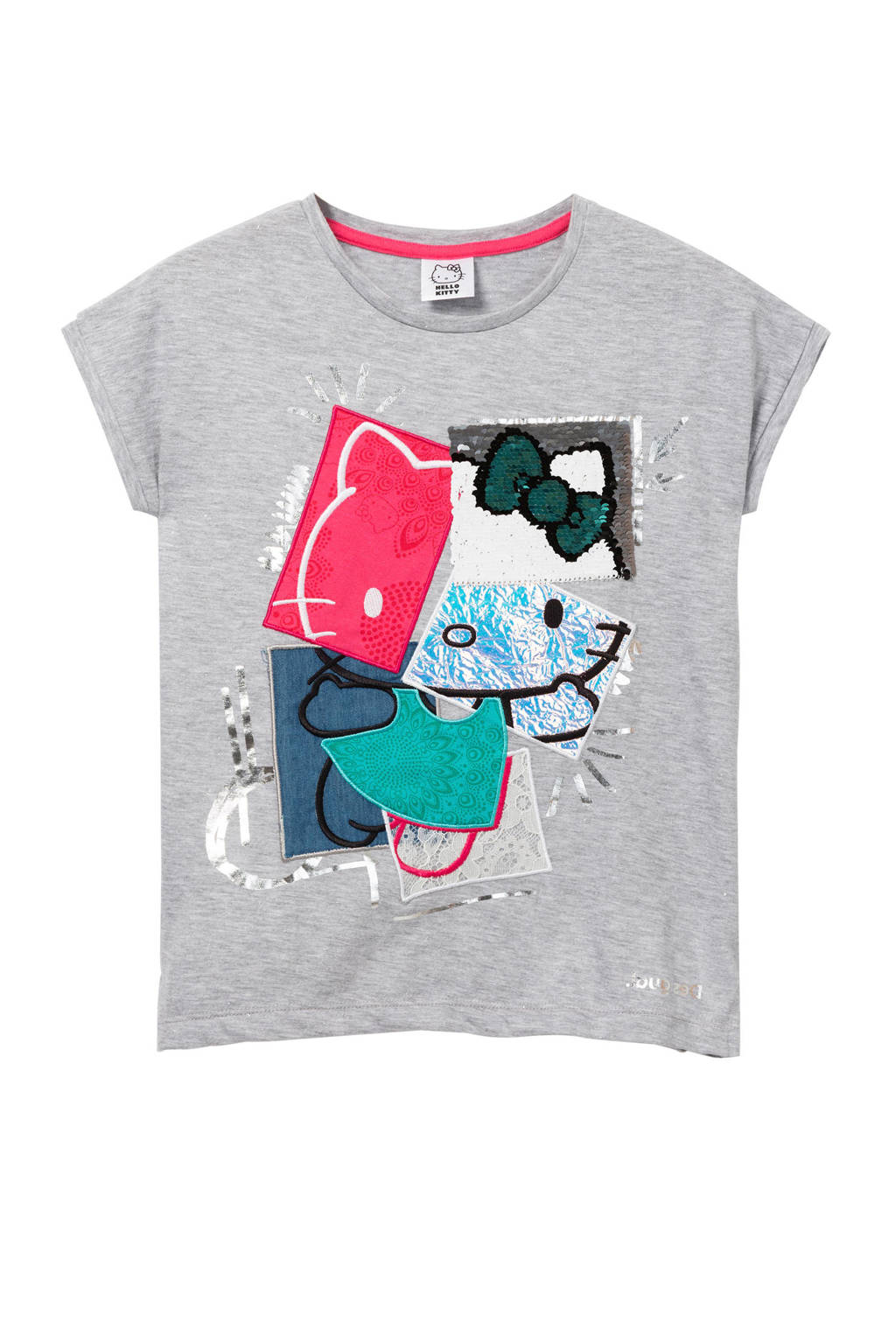 Desigual Hello Kitty T-shirt met printopdruk en pailletten lichtgrijs melange, Lichtgrijs melange/roze/blauw