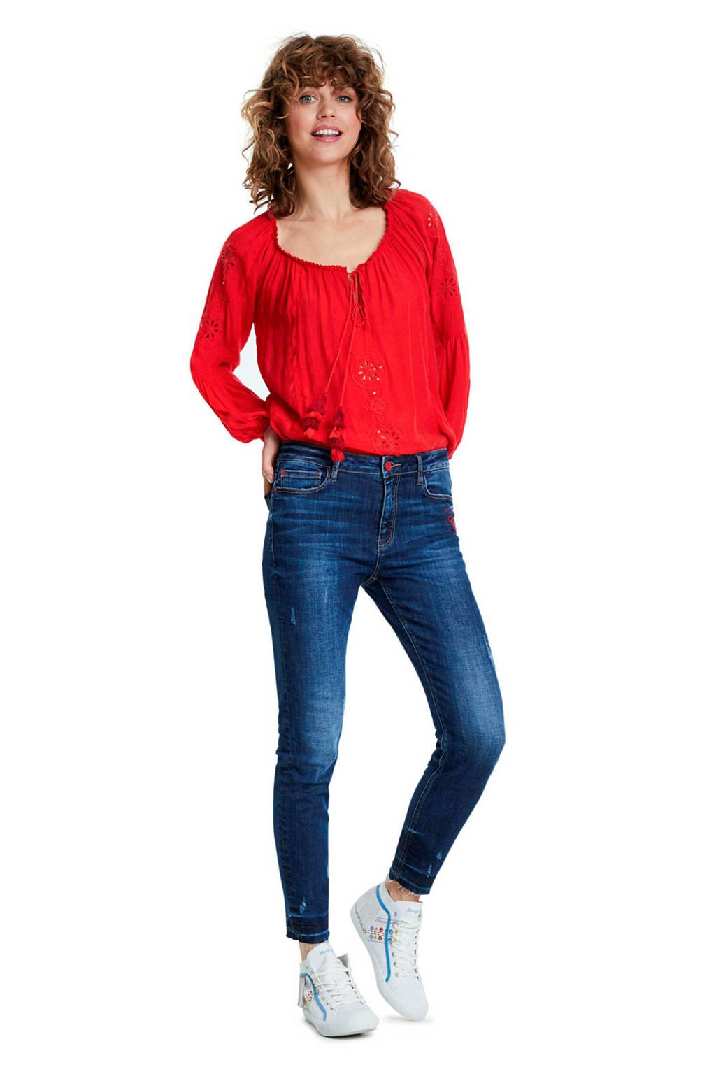 Desigual skinny jeans embroidered heart met borduursels denim dark, Denim dark