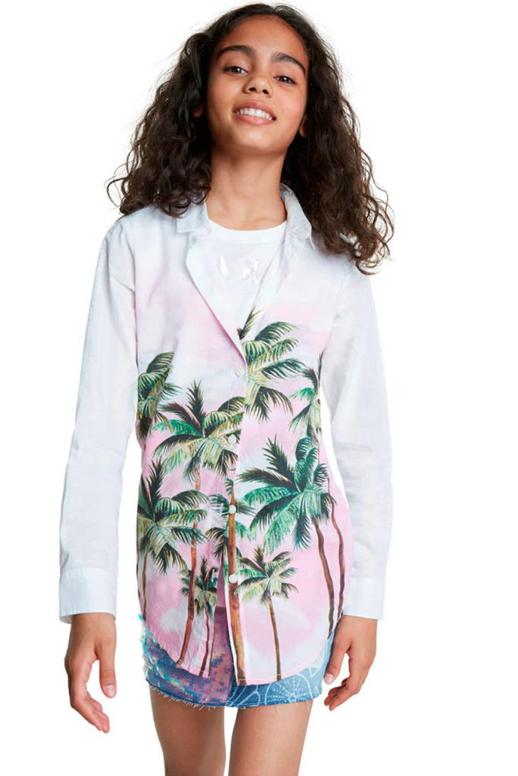 Desigual blouse met printopdruk wit/roze/groen, Wit/roze/groen