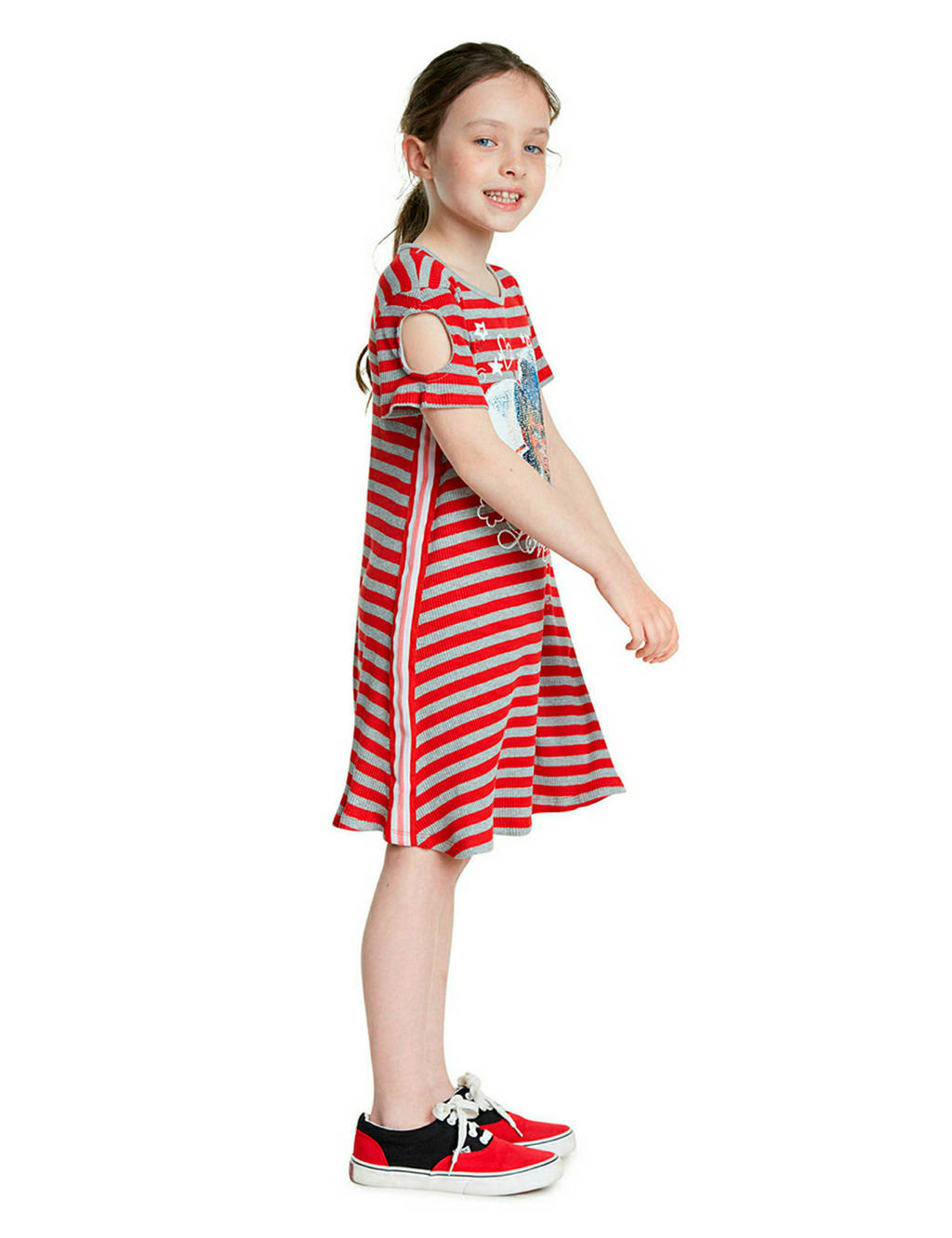 Desigual gestreepte open shoulder jurk met pailletten rood/beige/wit, Rood/beige/wit