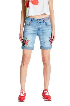 jeans short met borduursels light denim