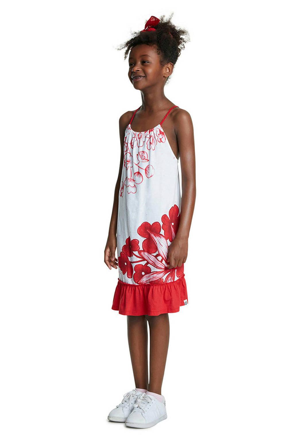 Desigual gebloemde A-lijn jurk wit/rood, Wit/rood