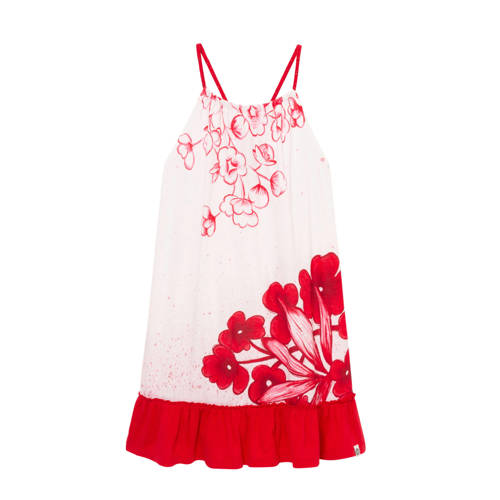 Desigual gebloemde A-lijn jurk wit/rood