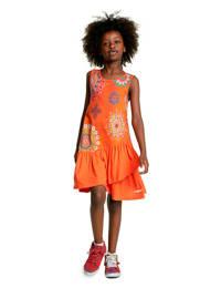 Desigual A-lijn jurk met all over print en volant oranje, Oranje