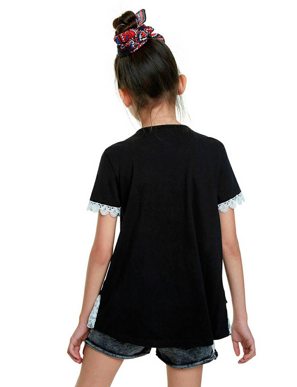 Desigual T-shirt met tekst en kant zwart/wit, Zwart/wit