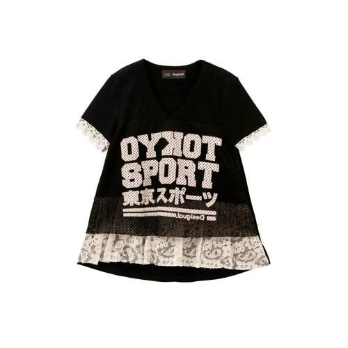 Desigual T-shirt met tekst en kant zwart/wit