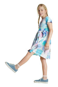 Desigual jersey jurk met all over print en plooien wit/roze/groen, Wit/roze/groen