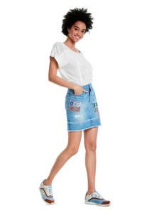 Desigual spijkerrok met borduursels, Blauw
