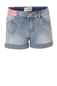 Desigual slim fit jeans short met zijstreep light denim, Light denim