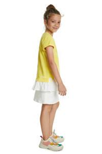 Desigual T-shirt met printopdruk en plooien geel/wit, Geel/wit
