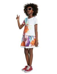 Desigual gebloemde jersey jurk wit/oranje/paars, Wit/oranje/paars