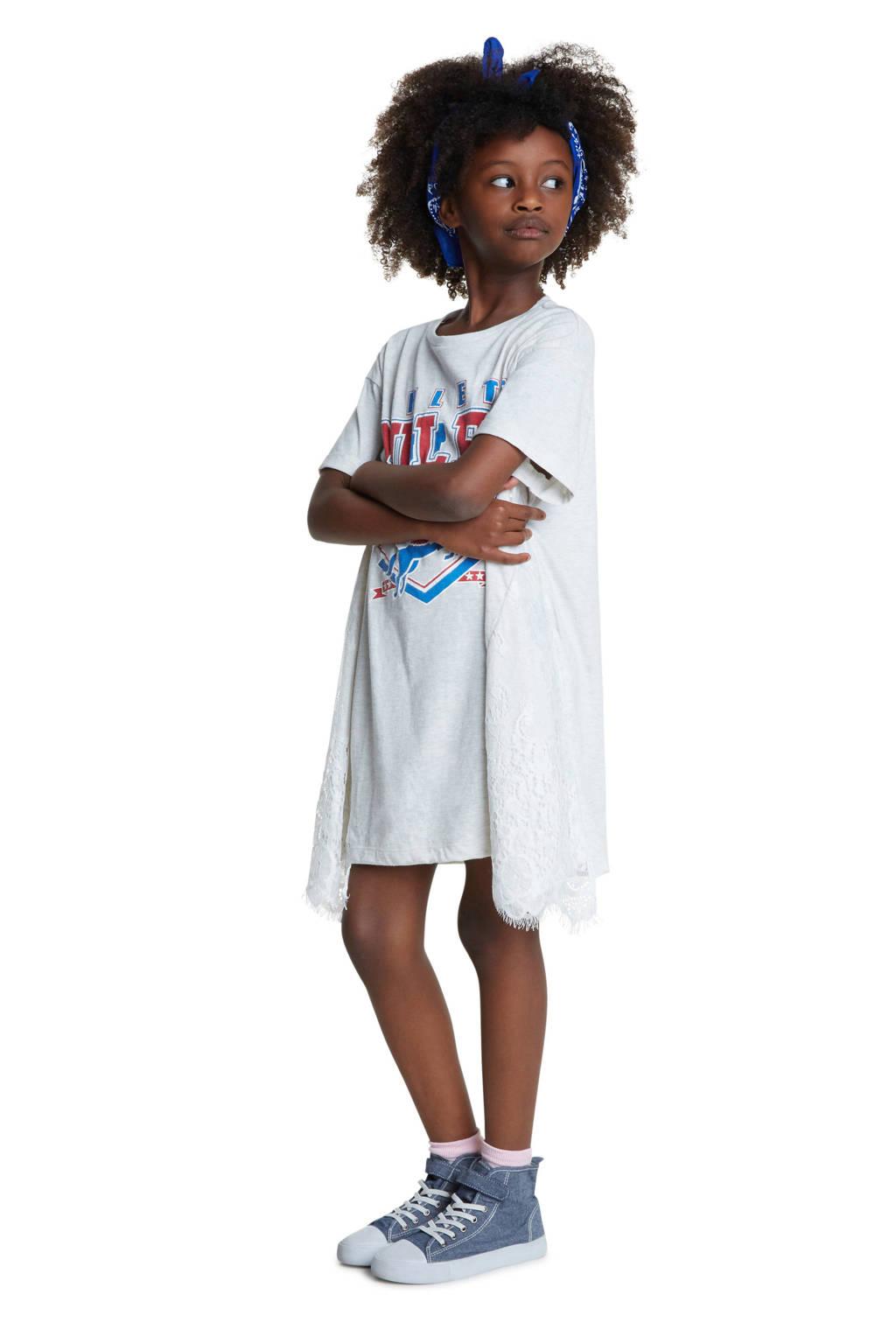 Desigual T-shirt jurk met printopdruk en kant wit, Wit