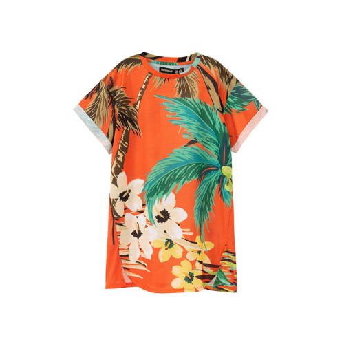 Desigual T-shirtjurk met all over print oranje/gro