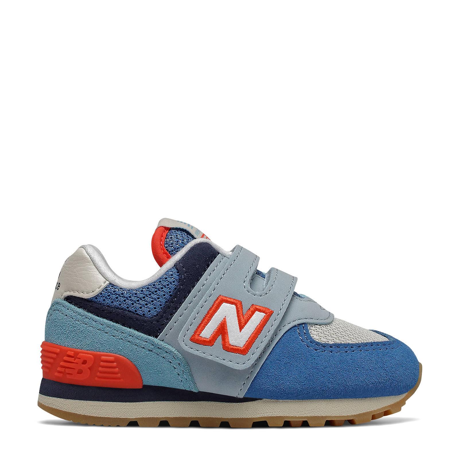 New Balance 574 sneakers blauw/lichtblauw/rood | wehkamp