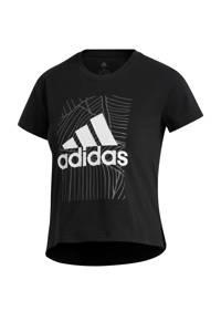 adidas Performance cropped sport T-shirt zwart, Zwart