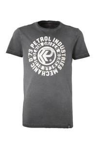 Petrol Industries T-shirt met printopdruk antraciet/ecru, Antraciet/ecru