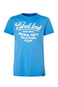 Petrol Industries T-shirt met printopdruk blauw/wit, Blauw/wit